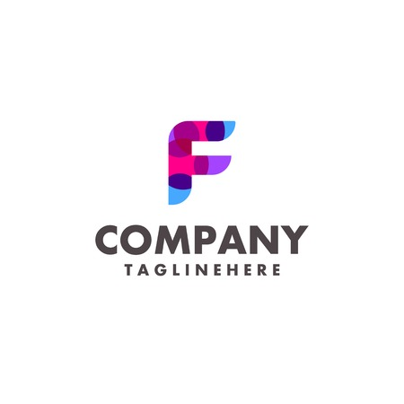 abstract colorful letter F logo design for business company with modern neon color Illustration