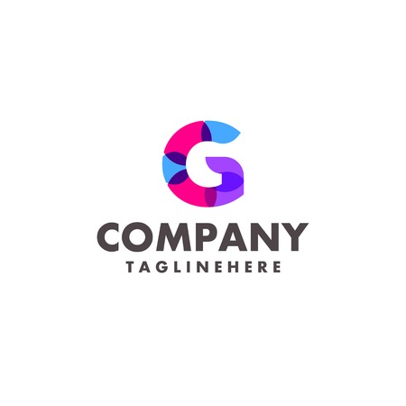 abstract colorful letter G logo design for business company with modern neon color