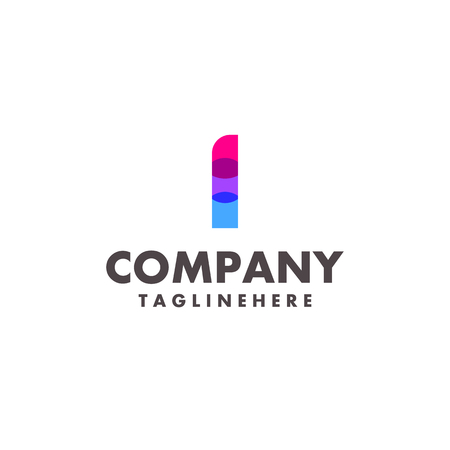 abstract colorful letter I logo design for business company with modern neon color Illustration