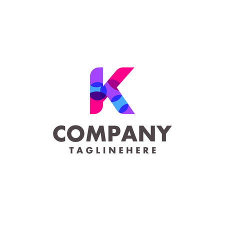 abstract colorful letter K logo design for business company with modern neon color Çizim