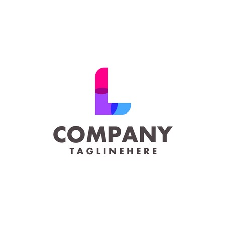 abstract colorful letter L logo design for business company with modern neon color 일러스트