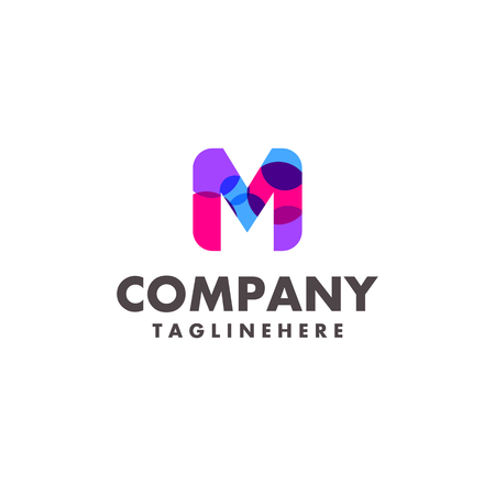abstract colorful letter M logo design for business company with modern neon color