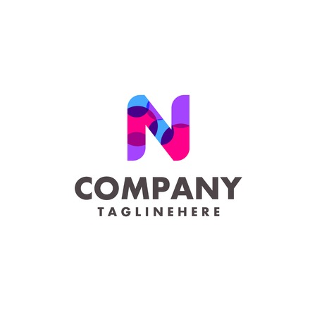 abstract colorful letter N logo design for business company with modern neon color