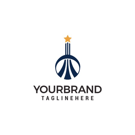 Building logo with star on top Logo template vector
