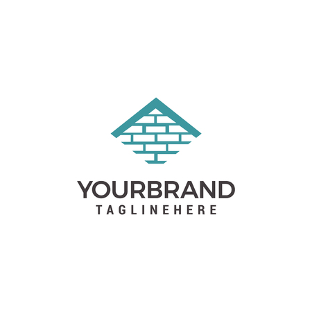 Vector logo template for real estate or building company. Illustration of roof of the house made of bricks Vettoriali