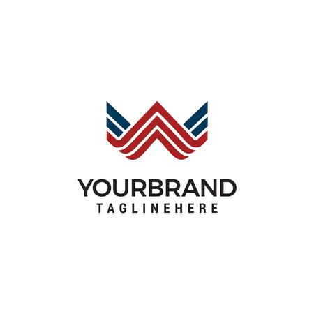 Letter W line art monogram. Creative logo design.