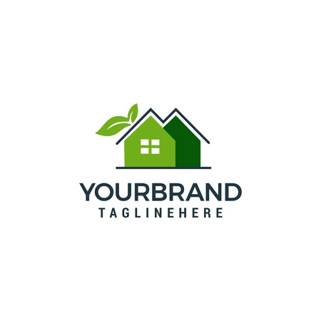 Leaf and Green House Logo Template