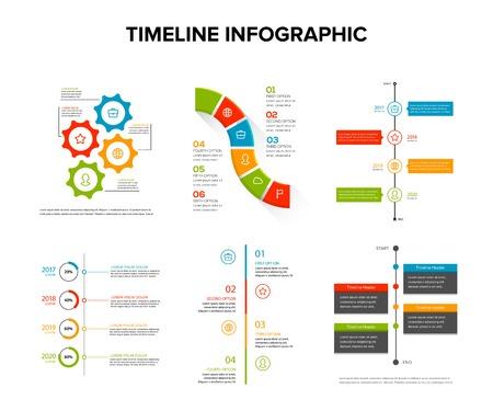 Tijdlijn infographics ontwerpset met vlakke stijl, werkstroom of procesdiagram, stroomdiagram, vectorillustratie Vector Illustratie