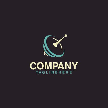 Vettore moderno di logo di comunicazione satellitare