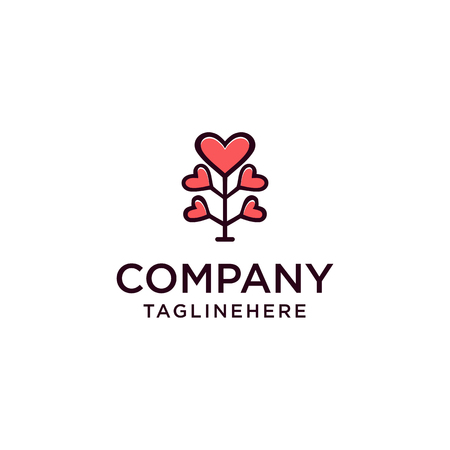Love Tree Illustration Design, vector logo illustration