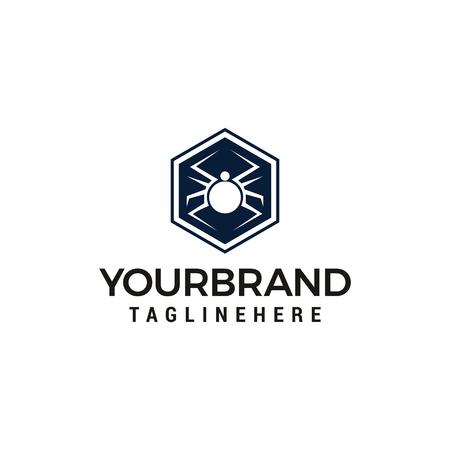 hexagonal Spider Logo Design Vector template design Illustration