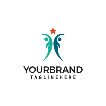 Vector People Reaching Star Logo template design Illustration
