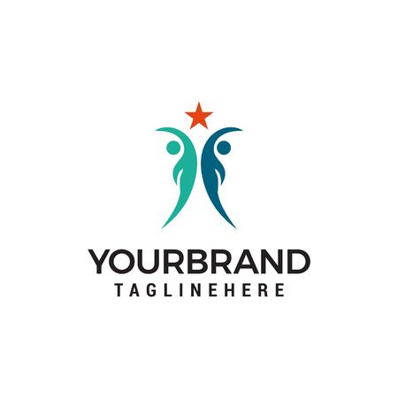 Vector People Reaching Star Logo template design Illusztráció