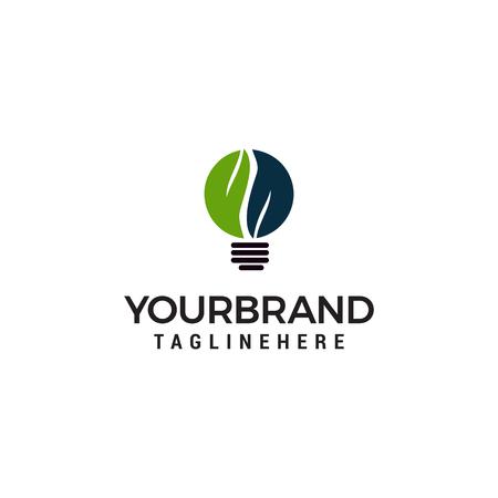Light Bulb Idea Logo with Green Leaf Symbol Design Template