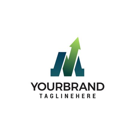 Modello di progettazione del logo della freccia della lettera M Logo