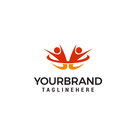 Success two people Logo Design Template Illustration