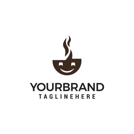 smile coffee Logo designs Template vector Logo