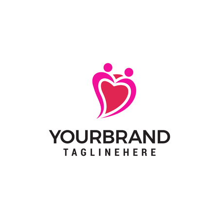 Love couple people heart logo. Dating service Logo designs Template vector