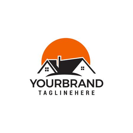 Sonne Häuser-Logo. Immobilien Logo entwirft Vorlagenvektor