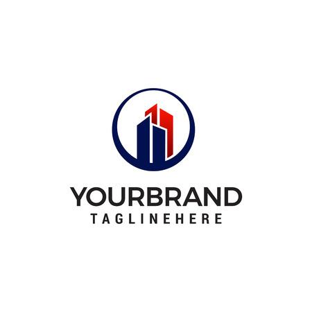 Conception de modèle de logo de bâtiment de construction immobilière Logo