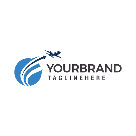 Planet Travel Logo, Plane fly logo design template elements