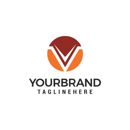 Letter V circle logo design template elements