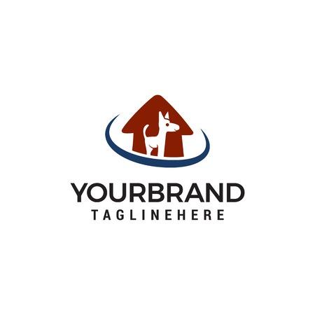 Dog House Logo. Animal care logo design vector template Illustration