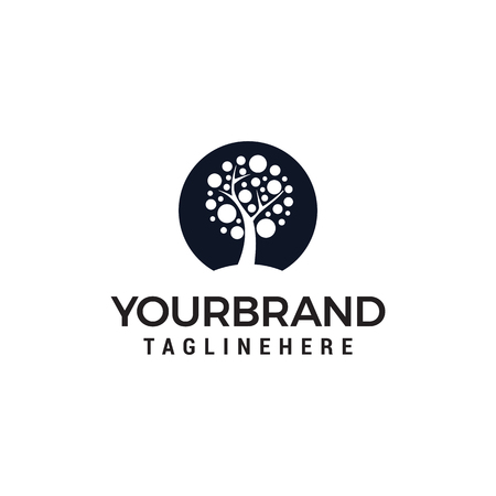 Modèle de vecteur de conception de logo arbre cercle