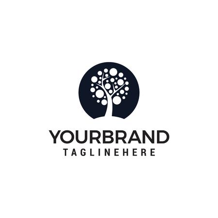 Plantilla de vector de diseño de logotipo de círculo de árbol