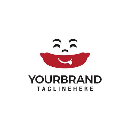smile hot dog logo concept vector design template  イラスト・ベクター素材