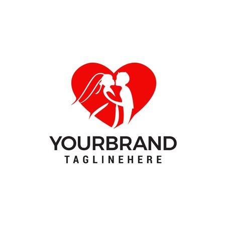 Love couple wedding logo design template
