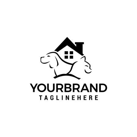 logo della casa del gatto del cane Disegno dell'icona di vettore del modello