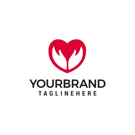 love hand logo Logo Template vector icon design Stock Illustratie