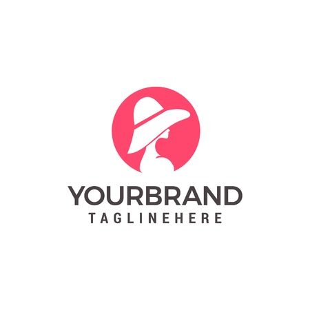 beauty women with hat Logo Template vector icon design