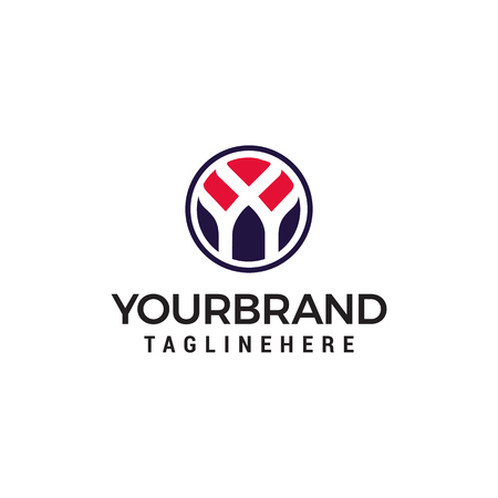 initial letter Y logo inside circle shape Design Template
