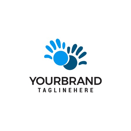 Vector Hand care Childish Support symbol. Two hands Design Template Illustration