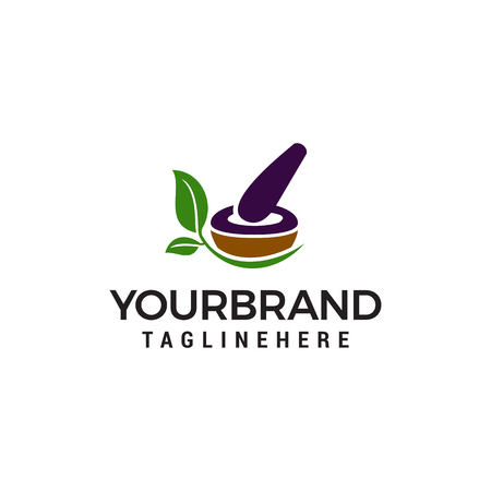 pharmacy medical logo, natural mortar and pestle logotype