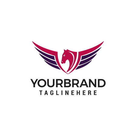 wing horse logo design concept template