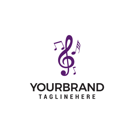 Music note symbols logo design concept template Illustration