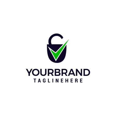 Security icon with check sign logo design concept template