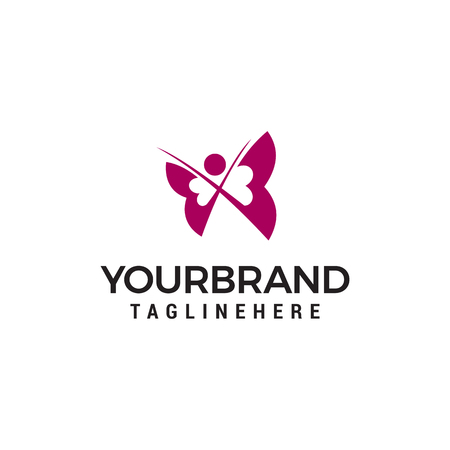 Butterfly logo design concept template Vettoriali
