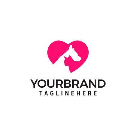 Modern Pet Logo - Love Dog kat logo. Ontwerpsjabloon voor liefdesdier logo