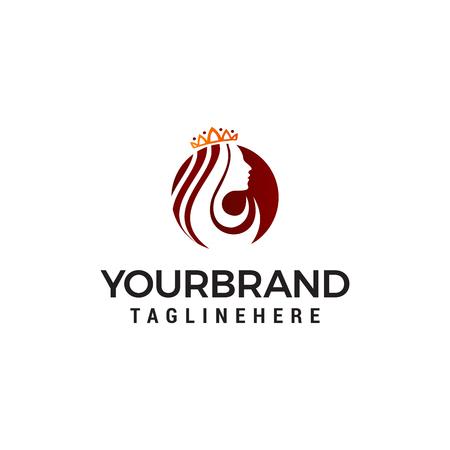 Queen beauty logo, crown woman face logo designs concept template