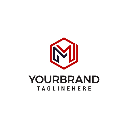 Luxury M logo hexagon logo designs concept template