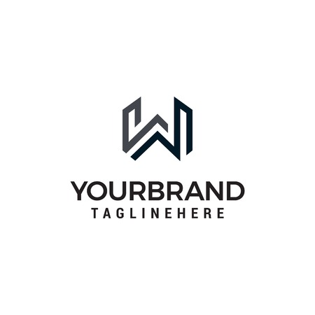 Letter W line art monogram logo designs concept template