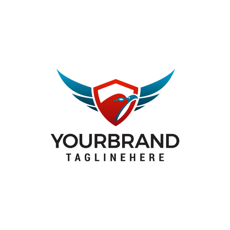 Eagle head shield logo design concept template vector