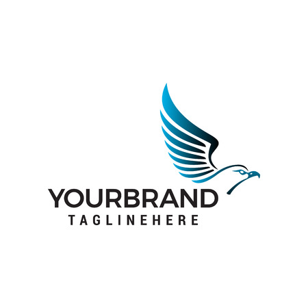 head eagle wings logo design concept template vector Illustration
