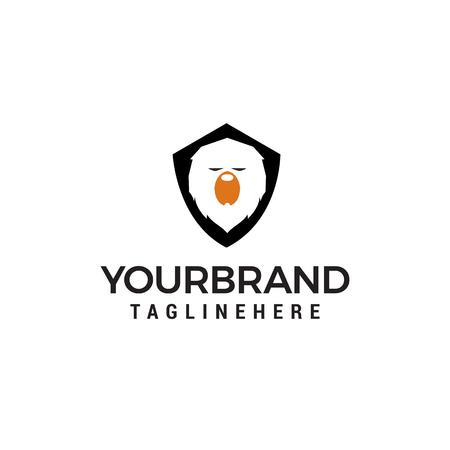 Bear shield logo design concept template vector