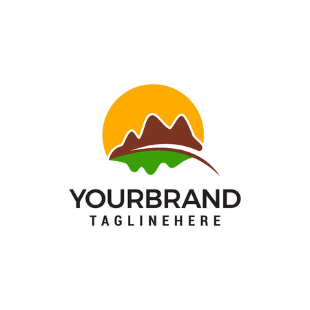 Mountain hills logo design concept template vector Ilustração