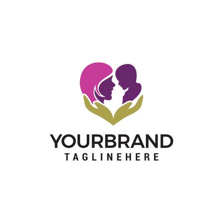 Mom baby care logo design concept template vector Illustration